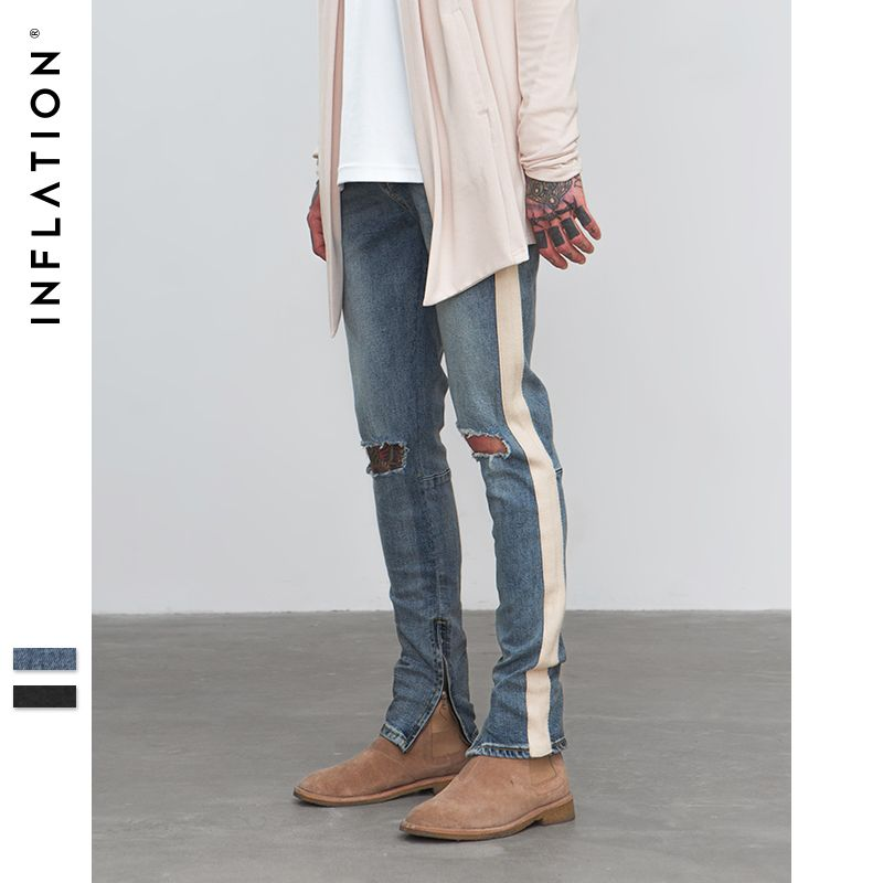 INFLATION 2018 Ripped Frayed Pants For Men Skinny Destroyed stripe Ripped Elastic Slim Fit Jeans Casual High Street Pants 8847W