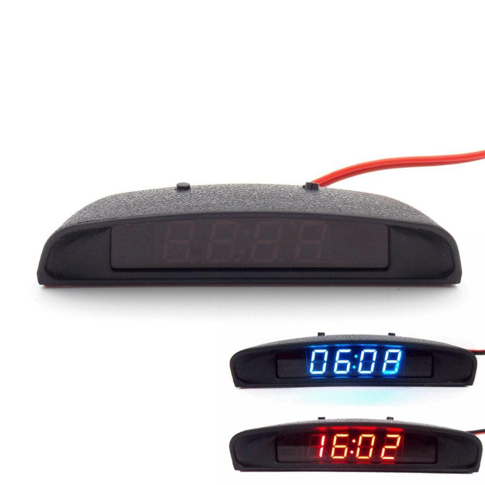 Garnitures intérieure de voiture d'origine 12 V apparence thermomètre d'horloge de voiture 3 en 1 et moniteur de tension (sept types de Mode d'affichage)