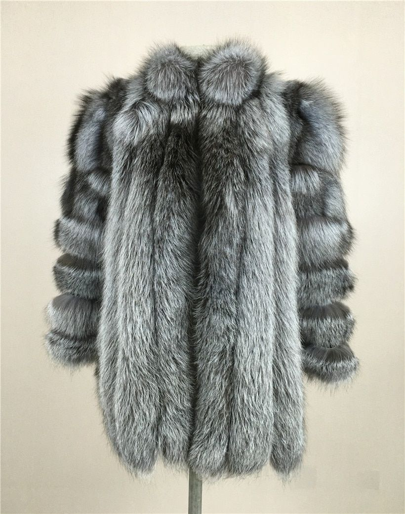 LIYAFUR 2017 New Stand Collar Coat Natural Real Genuine Silver Fox Fur Long Winter Warm Coats Jacket for Women Luxury Garment