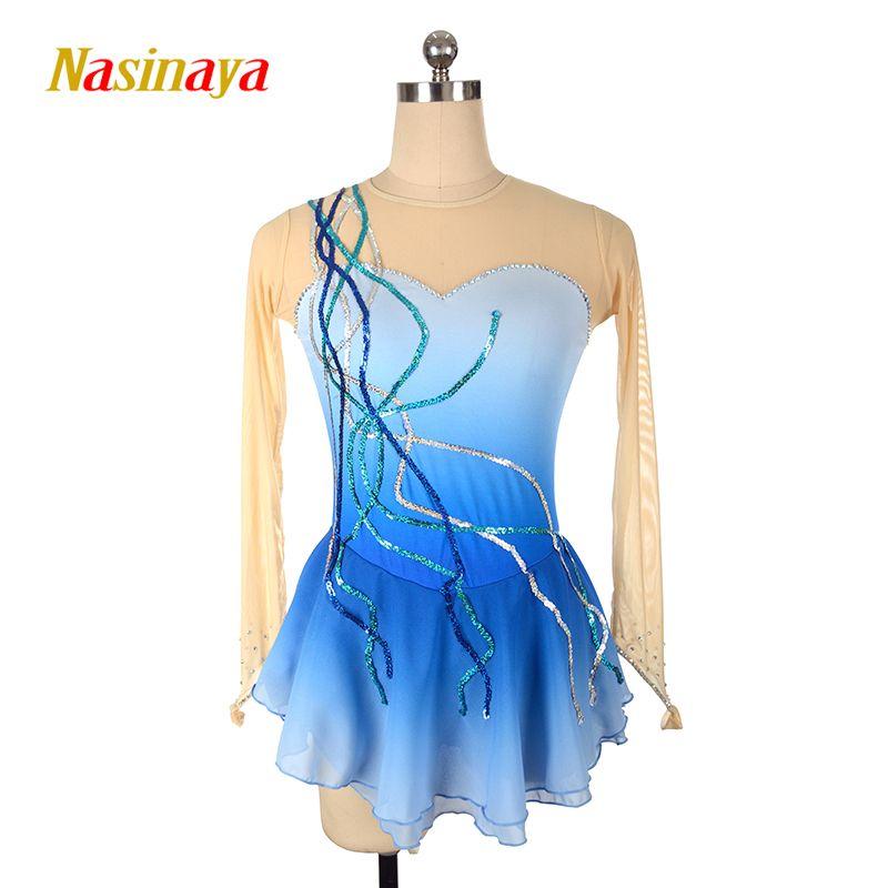 Kundenspezifische Kostüm Eislaufen Eiskunstlauf Kleid Rhythmische Gymnastik Pailletten Erwachsene Mädchen Blau Rock Wettbewerb Leistung