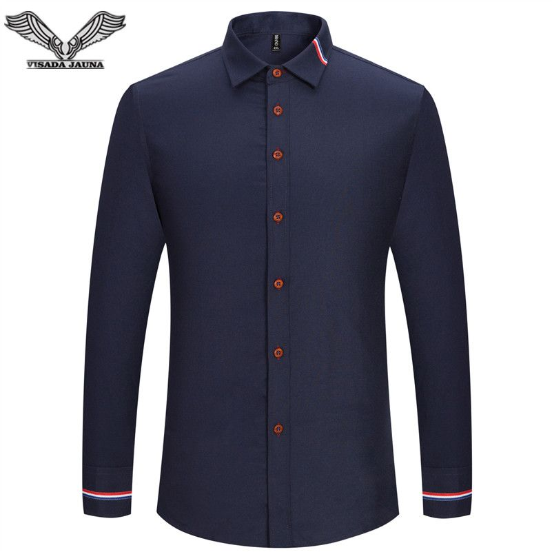 VISADA JAUNA 2017 New Men Shirt Solid Color Long Sleeve Casual Brand Clothing Camisa Social Masculina <font><b>Business</b></font> Dress 5XL N352