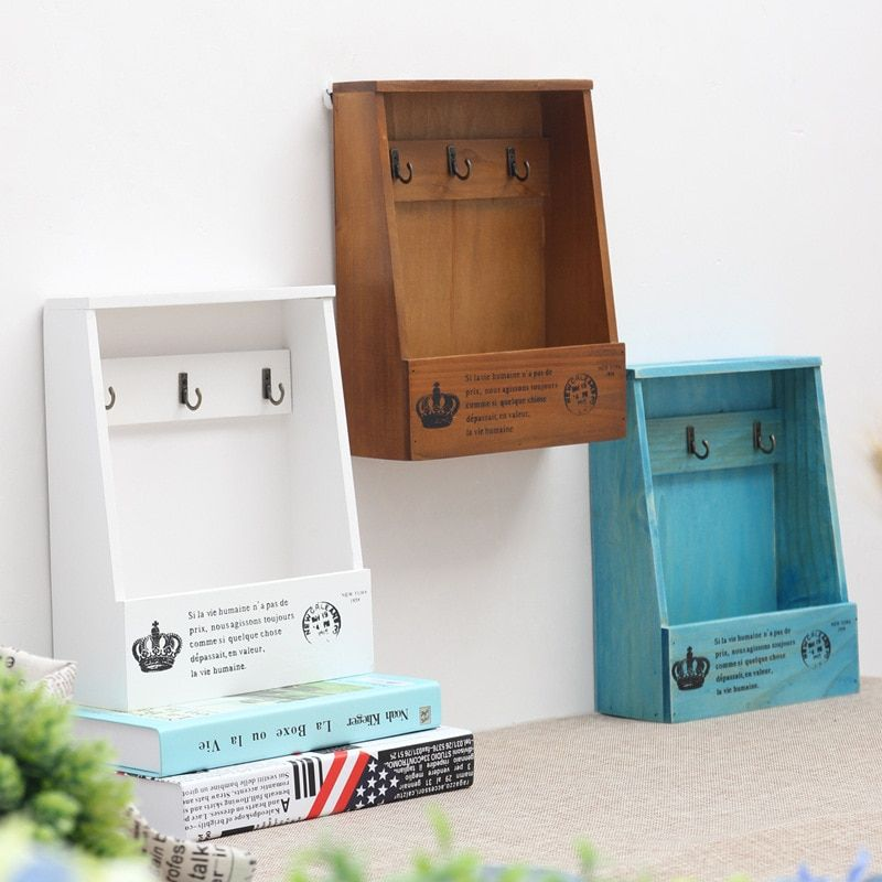 Wood Storage Box Wooden Shelf Display Holder Wall Hanging Decoration Sundries Boxes House Pattern Storage Holders & Racks