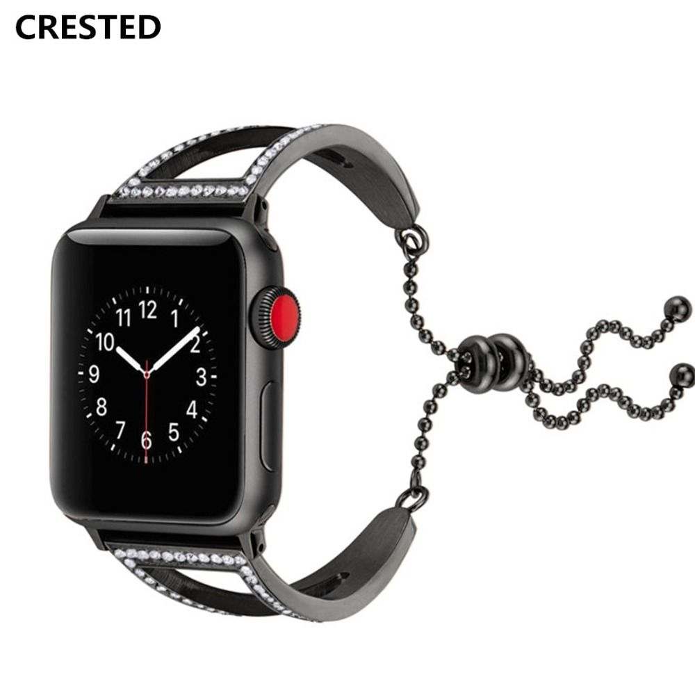 CRESTED Crystal Diamond Strap For Apple Watch Band 42mm 38mm Stainless Steel Iwatch Series 3 2 1 wrist Bracelet Watchband belt