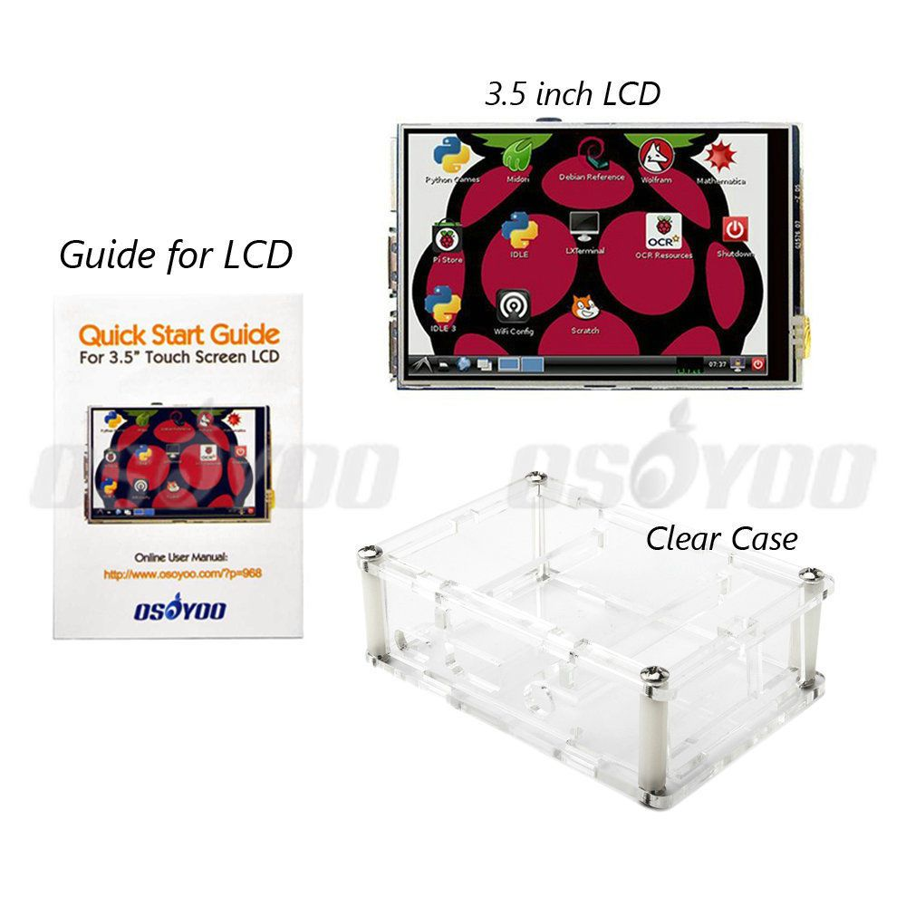 3.5 pouce Framboise Pi LCD TFT Écran Tactile D'affichage pour Raspberry Pi 2 et Pi 3 Modèle B LCD + Acrylique Cas FreeShip