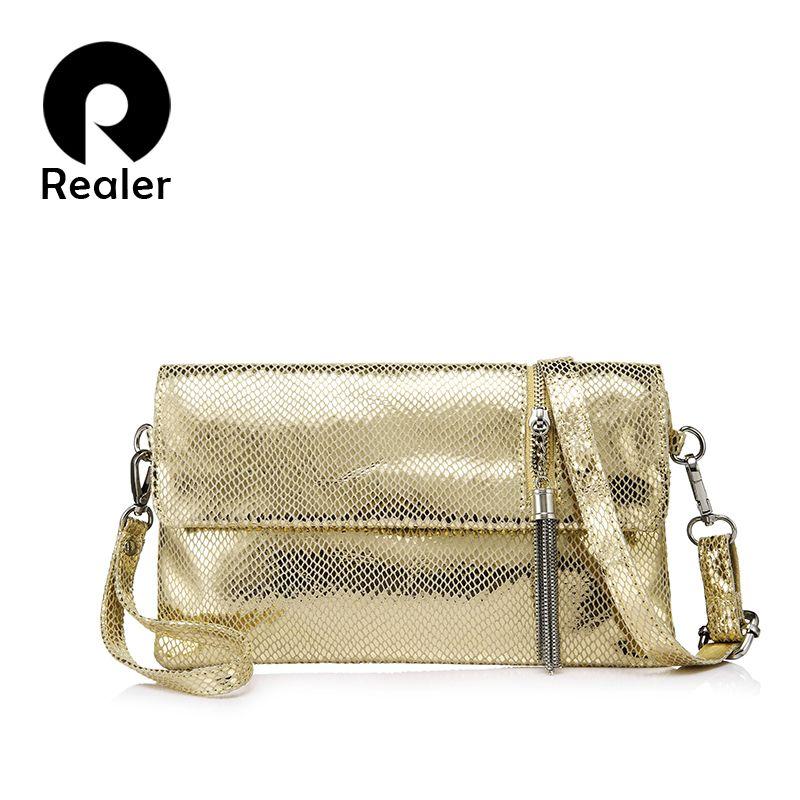 REALER brand genuine leather women handbag female shoulder bag clutch ladies messenger bag with serpentine prints and tassel