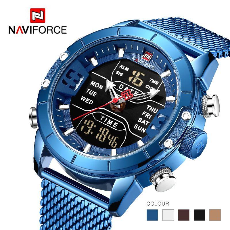 Naviforce 2019 neue 9153 sport digital military männer uhr top marke luxus stahl strap armbanduhr Relogio Masculino montre homme