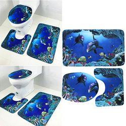 Высокое качество 3 шт./компл. ванная комната Нескользящая 19 узор стойка для тряпок + крышка для унитаза + коврик для ванной синий украшения ва...