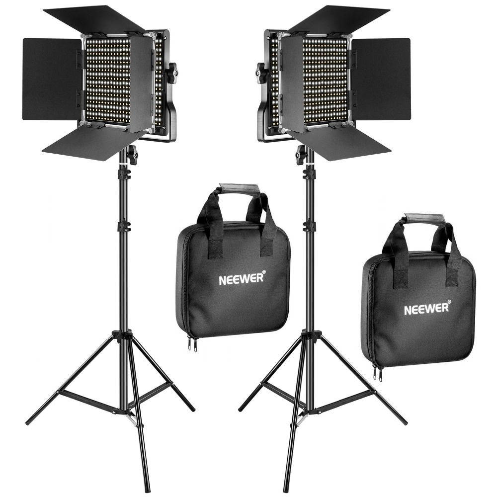 Neewer 2 Pack Bi Color 660 LED Video Light Stand Kit for studio photography video dimming light with U bracket and barn door