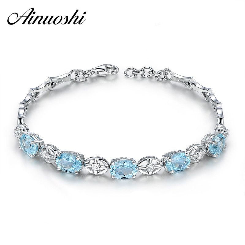AINUOSHI Natural Oval Sky Blue Topaz Gemstone Bracelet 925 Sterling Silver Girls Birthday Party Romantic Wedding Bangles Jewelry
