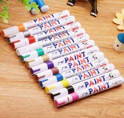 12 couleurs Étanche Voiture De Pneu De Pneu CD En Métal Marqueur De Peinture Permanente Graffti Grasse Marqueur Macador Caneta Papeterie