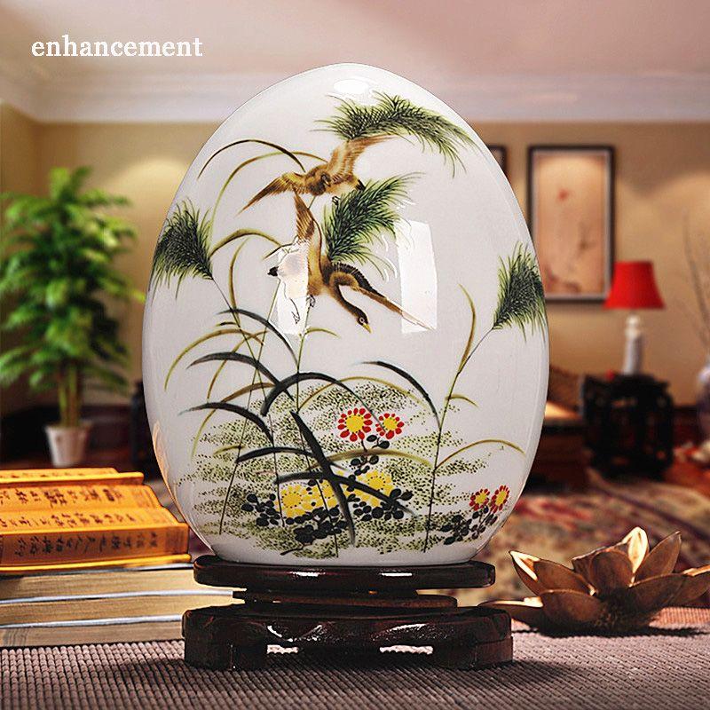 Antique Jingdezhen Vase en céramique chanceux oeuf poudre émail mince prospère oeuf contemporain décoration de la maison Article d'ameublement