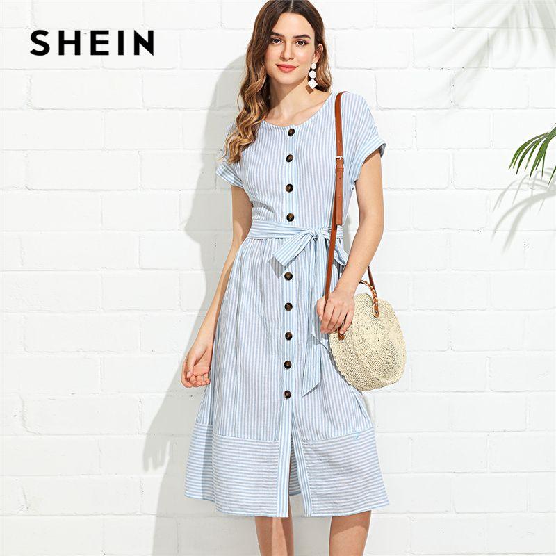 SHEIN Blue Vacation Boho Bohemian Beach Button Through Pinstripe <font><b>Belted</b></font> Round Neck Short Sleeve Dress Summer Women Casual Dress