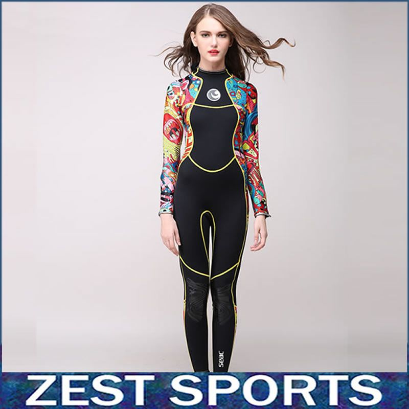 High-end, 3mm women neoprene wetsuit, color stitching, Jellyfish clothing,Surf Diving Equipment,long-sleeved piece fitted,M007