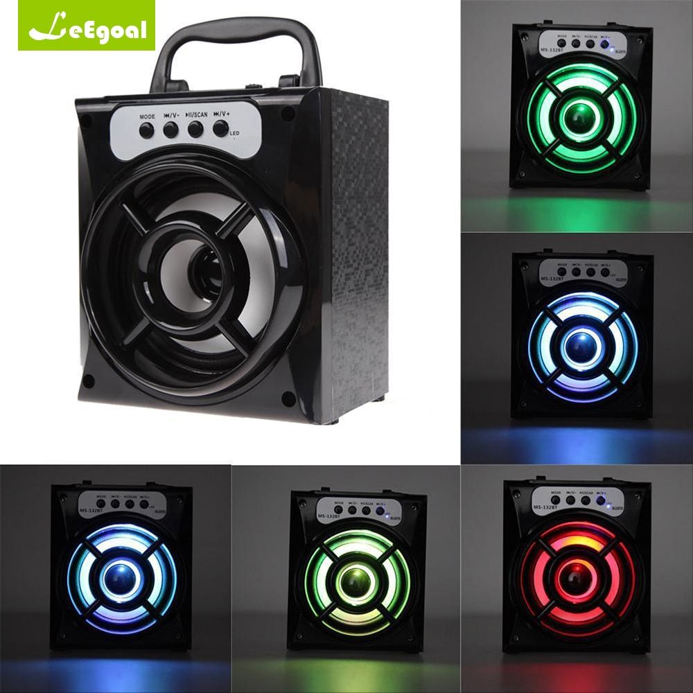 MS-132BT Portable Outdoor Wireless Bluetooth Speaker Bass Subwoofer Loudspeaker Stereo Speaker Bass with USB AUX LED TF FM Radio