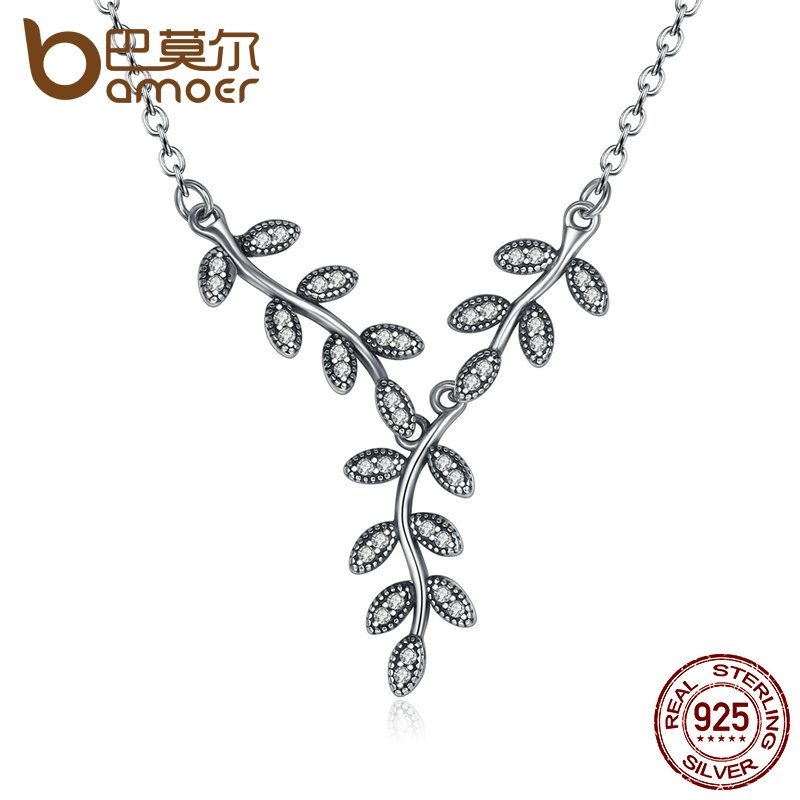 BAMOER 925 Sterling Silver Sparkling Leaves Long Pendant Necklace, Clear CZ Women Pendants & Necklaces Jewelry PSN008