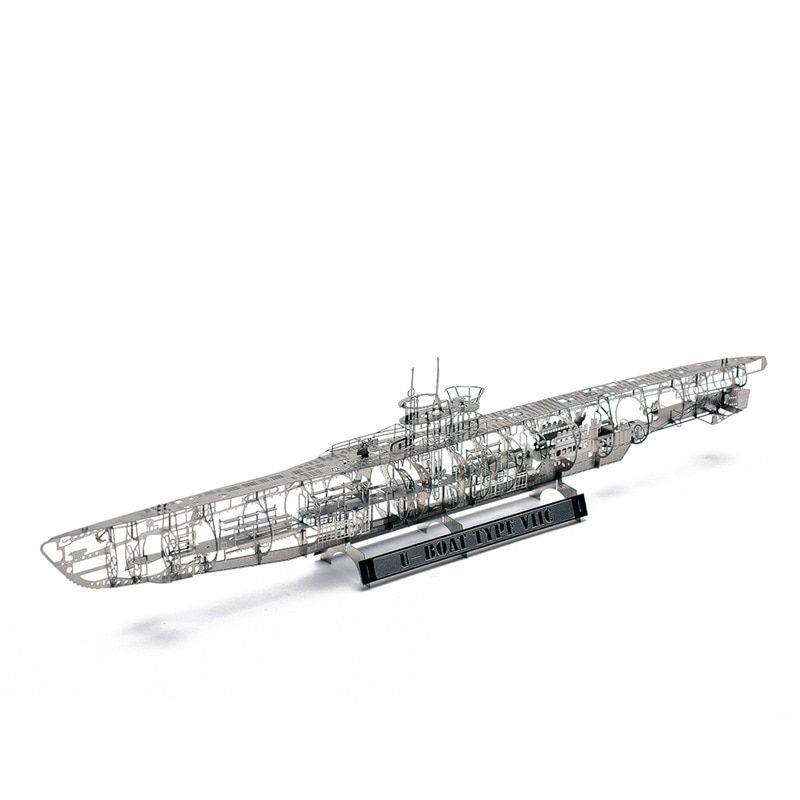 WW2 1:350 German U Submarine U-BOAT TYPE VIIC Fun 3d Metal Diy Miniature Model Kits Puzzle Toys Children Splicing Hobby Building