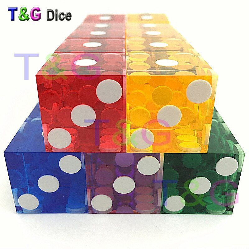 5piece T&G dice 19mm high-grade Acrylic precision dice  transparent dice six sided casino sharp straight corners dice