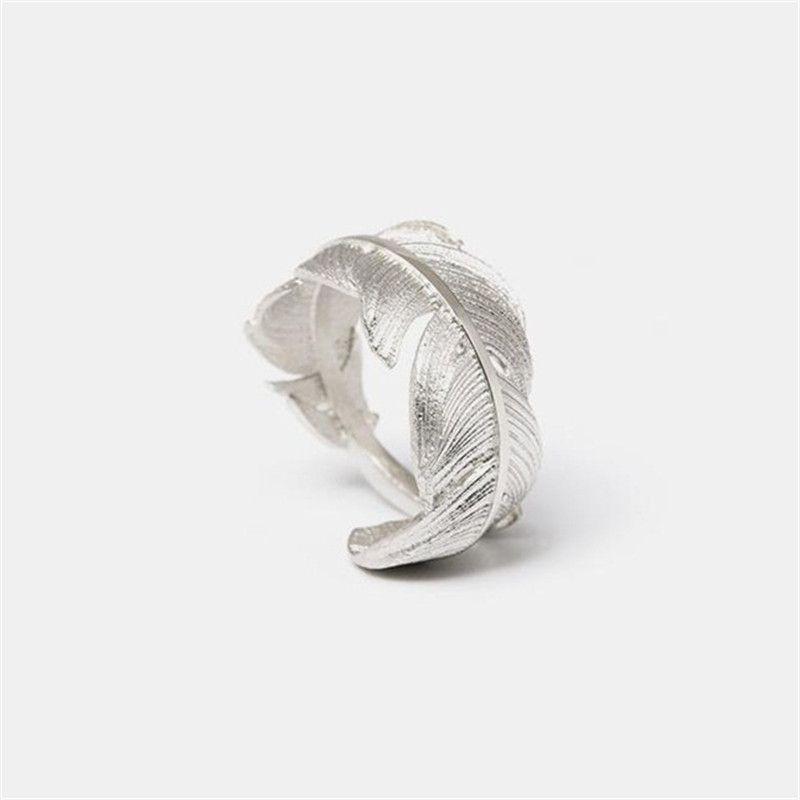 Flyleaf 925 argent Sterling plume anneaux ouverts pour les femmes Original fait à la main dame prévenir l'allergie Sterling-argent-bijoux