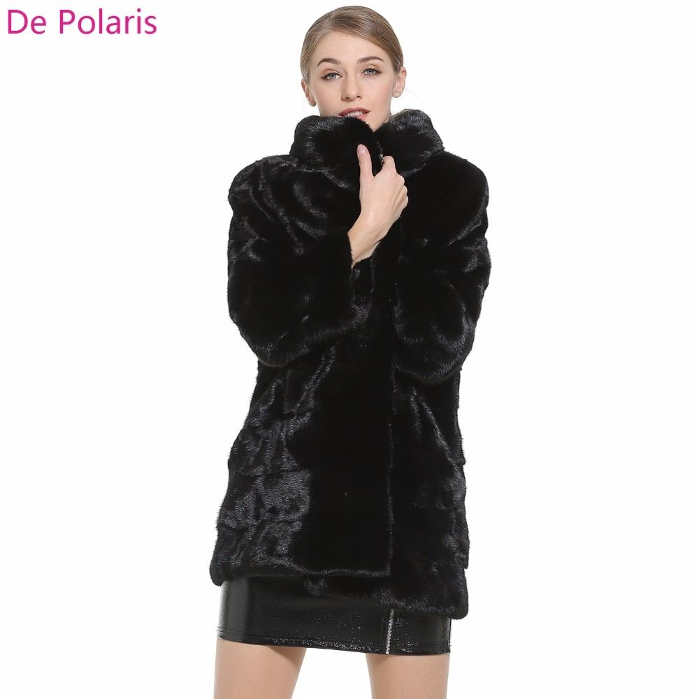 Mink Fur Coat Female Black Natural Fur Coats Hot Real fur coat For Women 97CM Parka honorable waistcoat Women`s Genuine Fur Coat