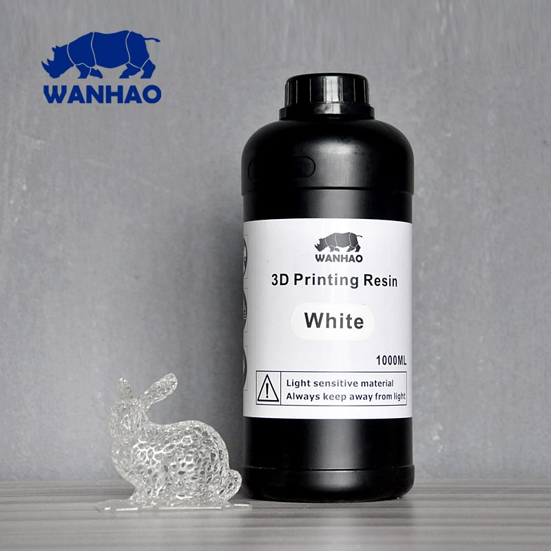 White - UV 405nm photopolymer resin (light-activated resin) for LCD/SLA 3d printer Wanhao Duplicator 7 (D7) - 1000 ml