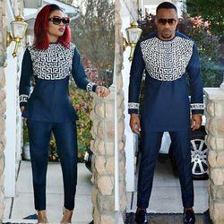 Dame africaine et homme même design matériau souple broderie conception top avec un pantalon LC088-1 #
