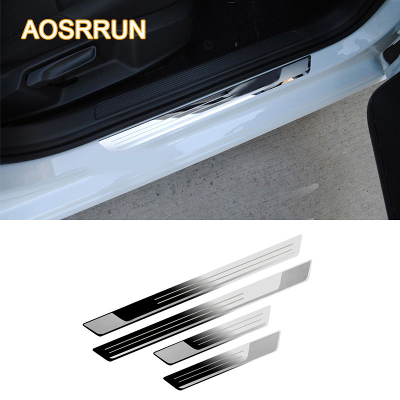 AOSRRUN For VW Volkswagen Golf 7 MK7 2012-2017 Car-styling Stainless steel Door sill scuff plate Car accessories Stickers