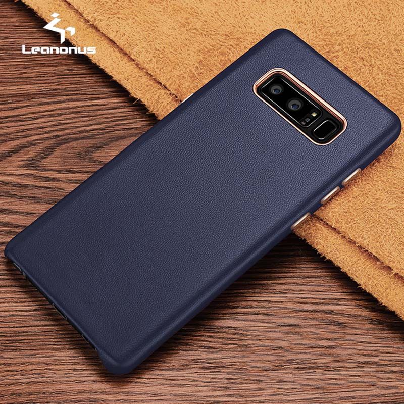 Leanonus Anti-knock Leather Case for Samsung Note 8 S8 Plus S7 Edge Phone Back Genuine Lambskin Leather Covers for Galaxy S8