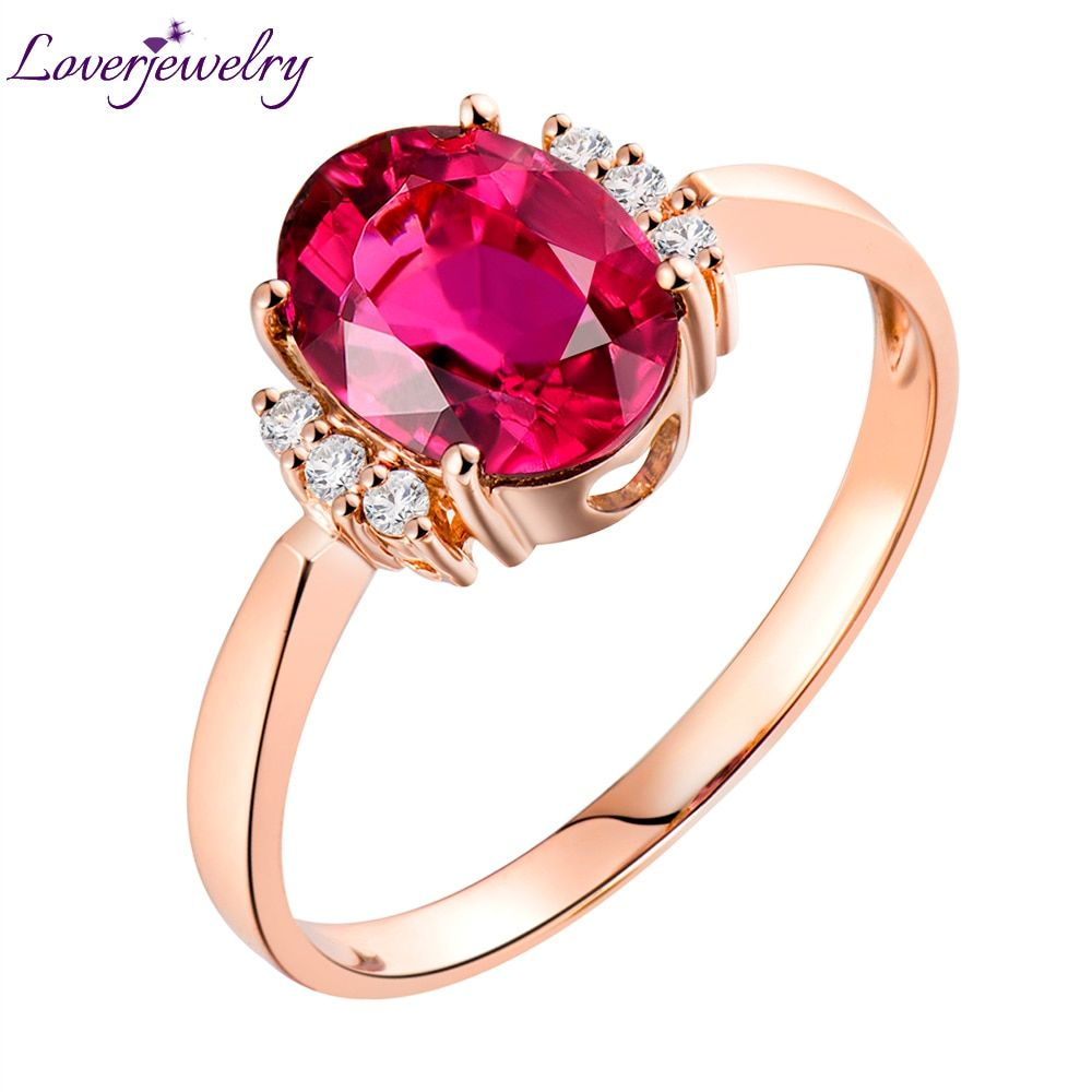 Loverjewelry 14K Rose Gold Natural Diamond Pink Tourmaline Genuine Gemstone Ring Jewelry Wedding Party Rings For Women Gift