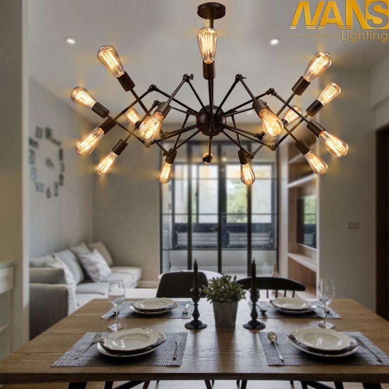NANS Modern big Spider Industrial black vintage pendant Lamp Loft led Bulb E27 edison lamp for living room restaurants bar