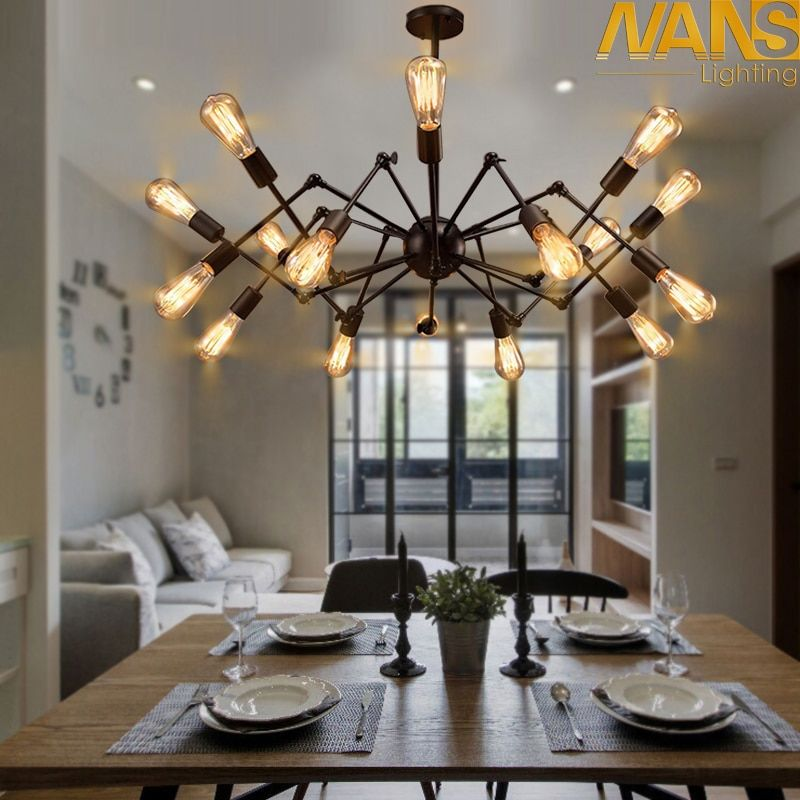 NANS Modern big Spider Industrial black vintage pendant Lamp Loft led Bulb E27 edison lamp for living room restaurants bar