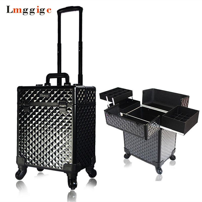 Rolling Cosmetic Cases,Nails Makeup Bags,Beauty Toolbox Trolley Box Travel Luggage ,Cabin Suitcase with Wheel