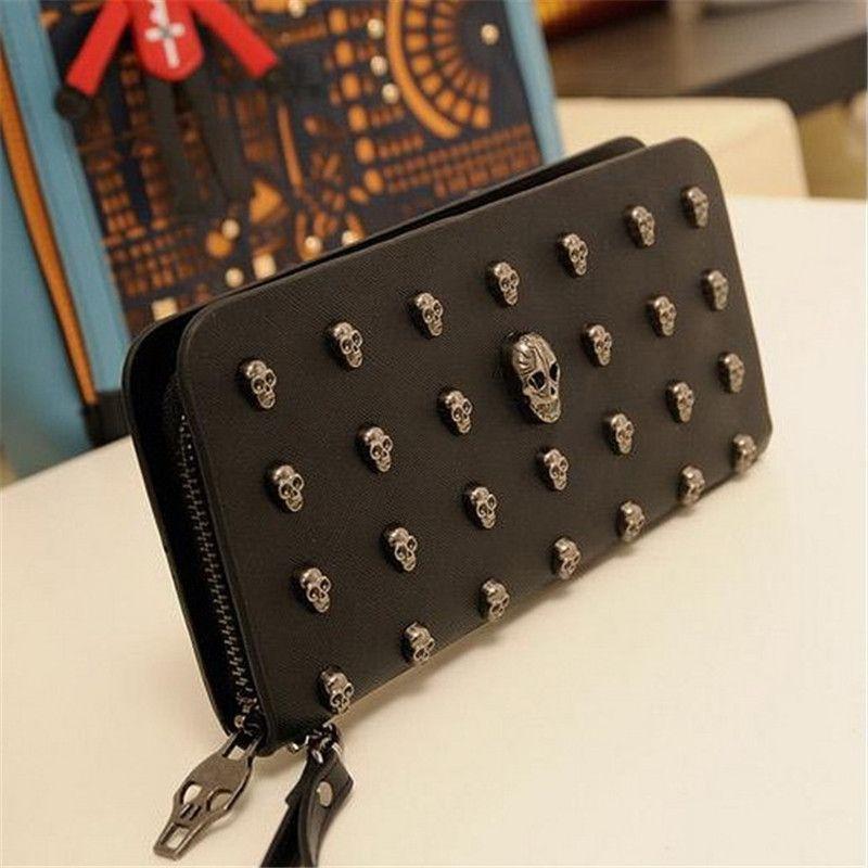 2018 Hot Sale Women Wallets Metal Skull Wallet Card Purse Leather Wristlet Portefeuille Handbags Carteira Feminina