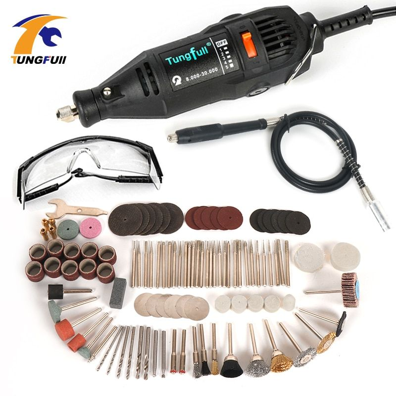 220V Electric Mini Drill For Dremel Rotary Tool Variable Speed Mini Drill with Flexible Shaft and 106pcs Dremel Accessories
