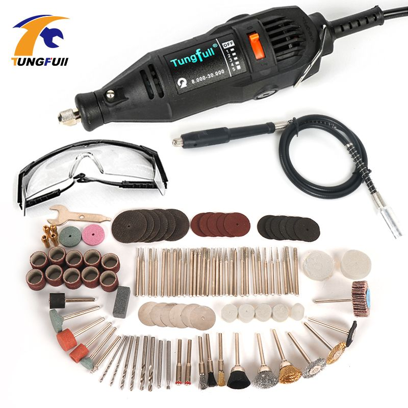 220V Electric Mini Drill For Dremel Rotary Tool Variable <font><b>Speed</b></font> Mini Drill with Flexible Shaft and 106pcs Dremel Accessories