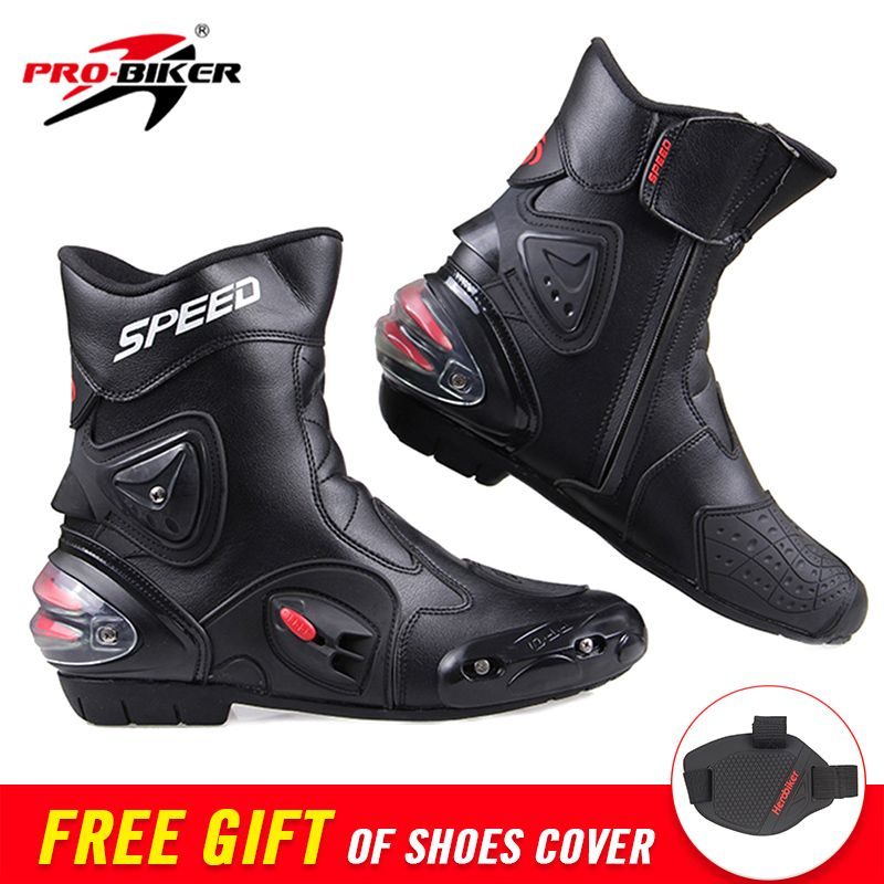 PRO-BIKER SPEED Ankle Joint Protective Gear Motorcycle Boots Moto Shoes Motorcycle Riding Racing Motocross Boots BLACK RED WHITE