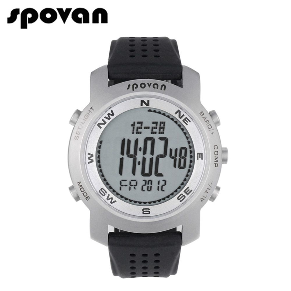 SPOVAN Men Digital Watch for Sports Watches. LED Electronic Wristwatch Compass/3D pedometer/50m Waterproof Bravo+