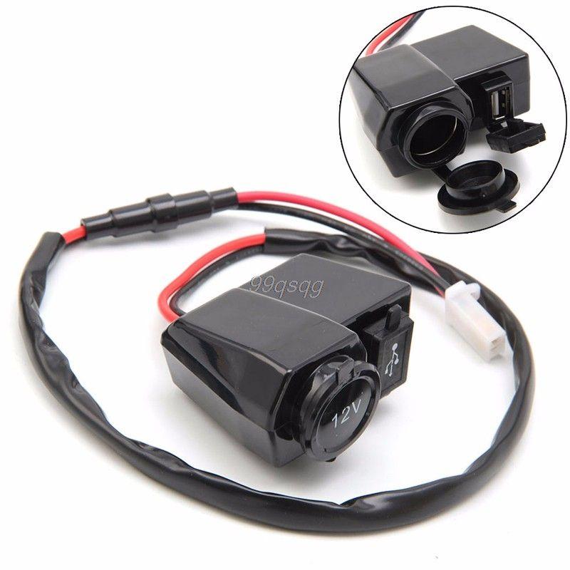 12V/5V Motorcycle Cigarette Lighter Socket USB Charger Waterproof Phone GPS Drop shipping