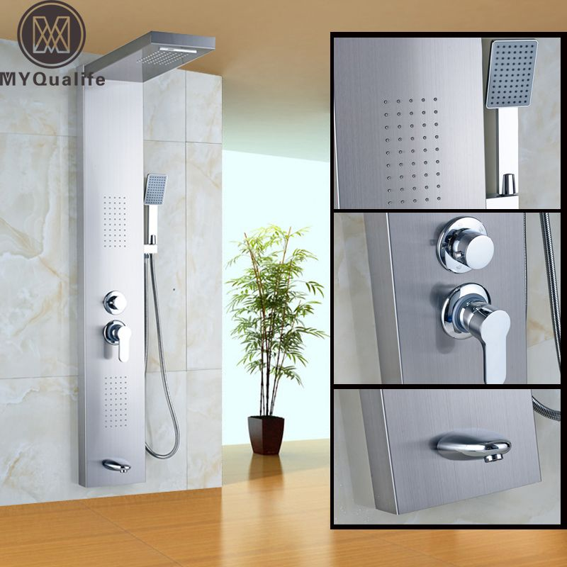 Stainless Steel Rain Waterfall Shower Panel SPA Body Massage System with Hand Shower Bathroom Tower Shower Column
