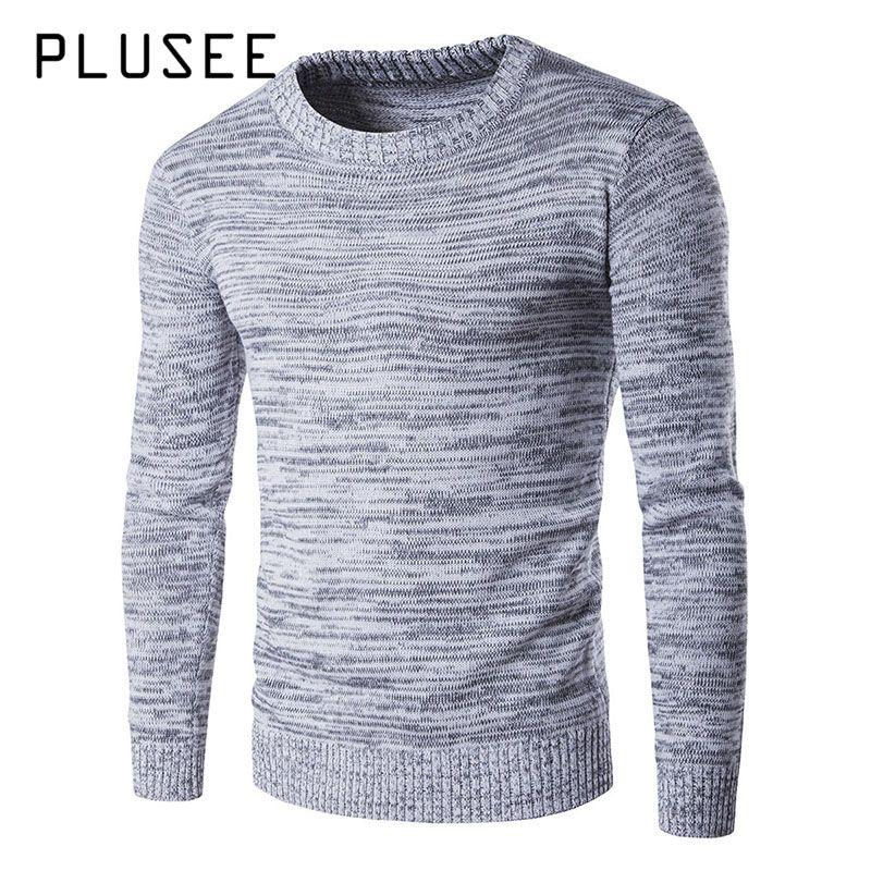 Plusee Новинка 2017 года Для мужчин Свитера, пуловеры осень Термальность серый плотная весенние полосатые Вязание свитер с круглым вырезом тепл...