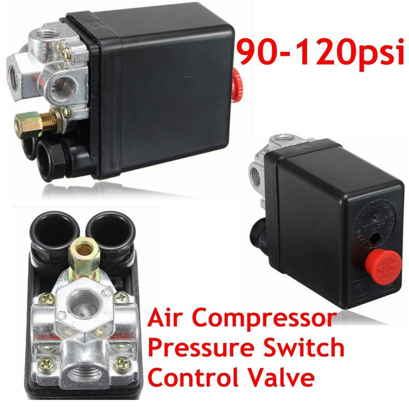 Heavy Duty Air Compressor Pressure Control Switch Valve 90-120PSI 12 Bar 20A AC220V 4 Port 12.5 x 8 x 5cm Favorable Price