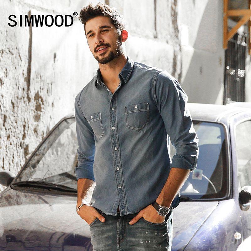 SIMWOOD 2018 Neue Frühling Winter Denim Shirts Männer Langarm 100% Aus Reiner Baumwolle Slim Fit Plus Größe CS1599
