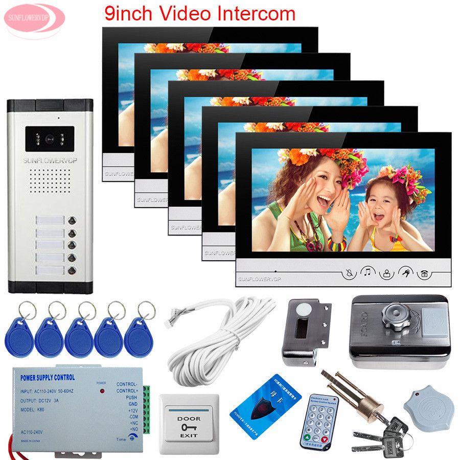 5 Apartments Wired Video Tür Eintrag Video Portier Haus Kabel 9 zoll Farbe Video Tür Telefon Türklingel Rfid Entsperren Elektronische schloss