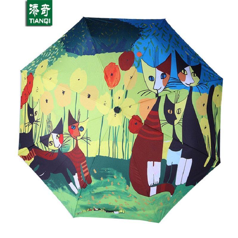 Peinture à l'huile motif chat pluie/soleil parapluie, 3 pliage épaississement Anti UV mode art abstrait conception femmes parapluie