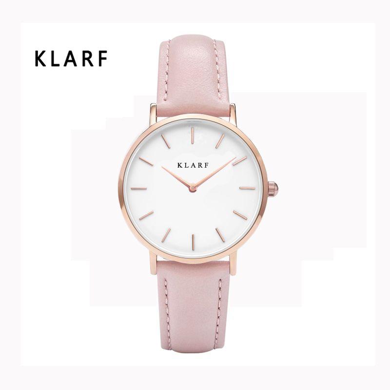 Klarf 2017, Новая мода бренд кожаный ремешок король Кварцевые женские Часы женские платье Часы женский Повседневное золото Часы