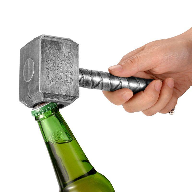 JINJIAN Argent ouvre-bouteille de bière Multifonction Marteau De Thor En Forme de Bière ouvre-bouteille Avec Long Manche Embouteilleur Ouvre Bière