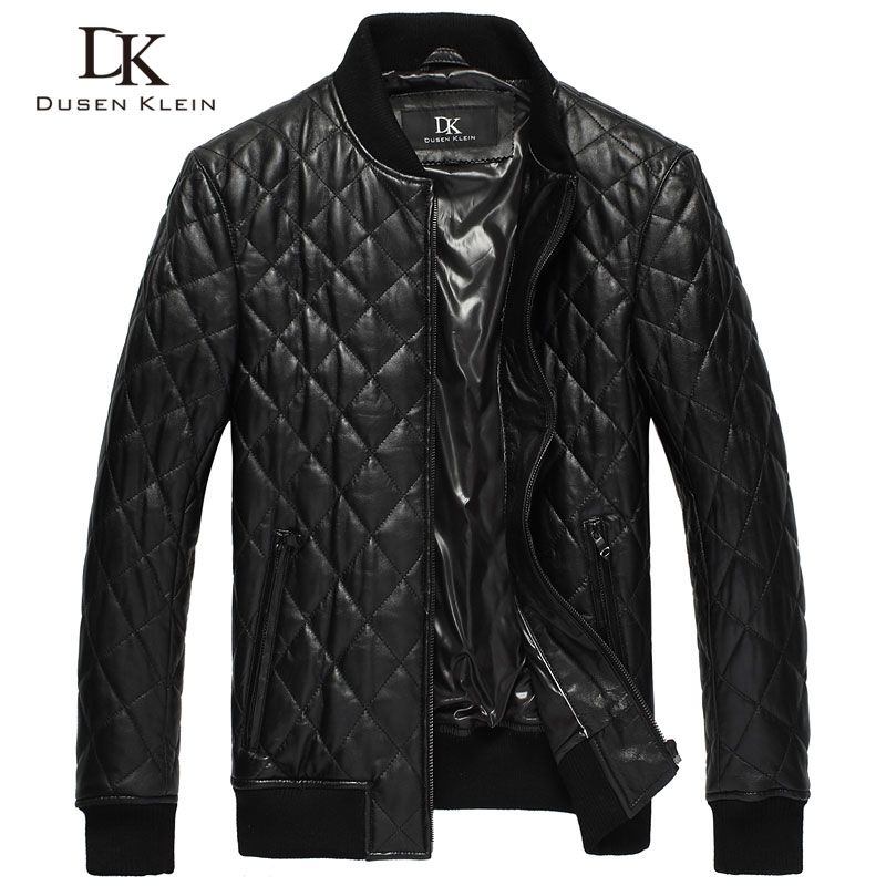 Dusen Klein Men's leather jackets Quilted cotton Genuine sheepskin Causal/Slim brand-clothing DK069