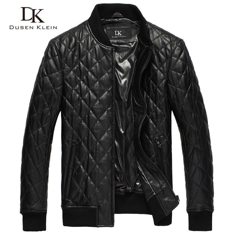 Dusen Klein Men's leather jackets Quilted cotton Genuine sheepskin Causal/Slim brand-clothing DK069