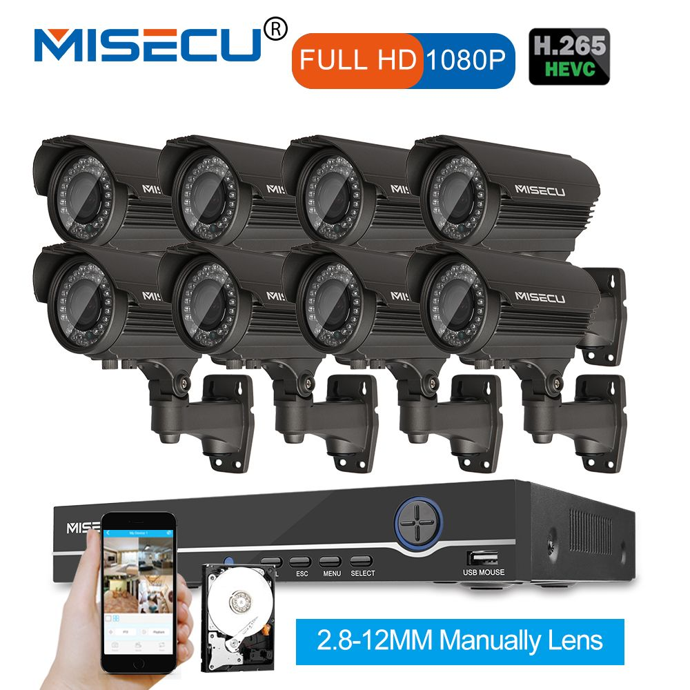 1080 p 8CH NVR KIT echt POE 48 v 2.0MP 8 stücke IR POE IP 36 stücke IR 2,8- 12 Zoom objektiv Kamera Wasserdichte P2P Onvif CCTV Surveillance kit