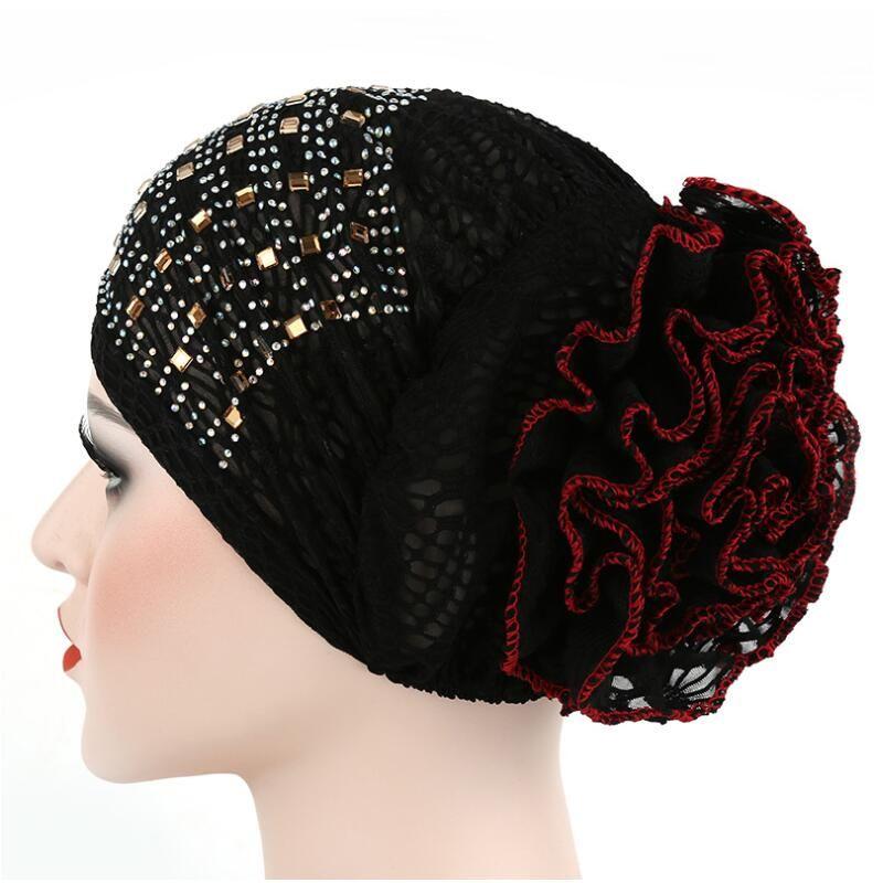 2017 New Women Floral Lace Turban Hat India Cap with Diamond Hairnet Muslims Chemo Cap Flower Bonnet Beanie for Women