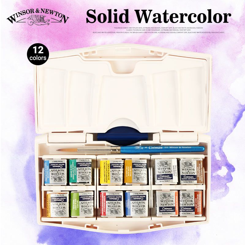 Winsor & Newton Solid Watercolor Paints Pocket PLUS Set,12 Half Pans Watercolor Cakes With a Pointed Brush Aquarela